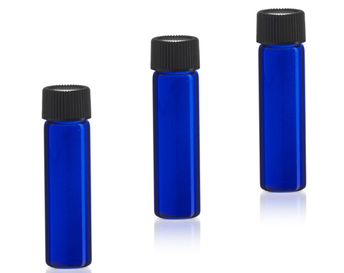 MagnaKoys® 2 Dram 1/4 oz Cobalt Blue Glass Vials w/ Cap for Essential Oils & Liquids