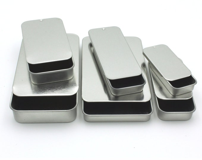 MagnaKoys® Empty Silver rectangular Metal tin Assortment with slider tops for Crafts, Pills, Geocaching, Survival Gear (pack of 6)