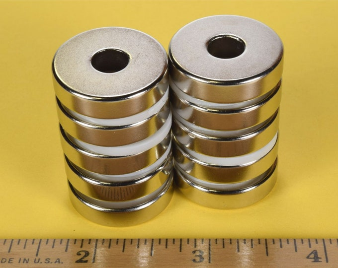 "MagnaKoys® 2 pcs.  1"" x 5/16"" x 1/4"" Neodymium Rare Earth Ring Magnets for Crafts, Geocaching, survival Gear"