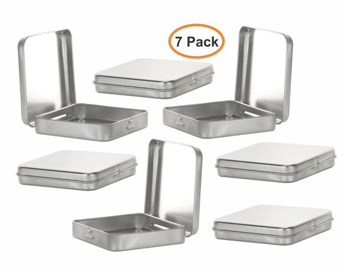 MagnaKoys® Square Silver Metal Hinged Tins 3.5 x 3.5 x .70 Inches Boxes for Candy Storage Geocaching (7-Pack)