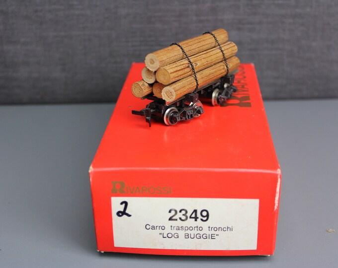 Vintage HO Scale Log Buggie Carro Trasporto Tronchi by Rivarossi ie2