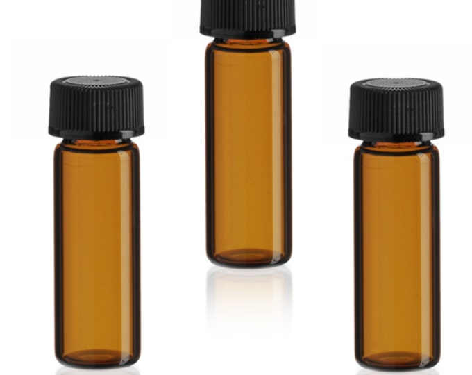 MagnaKoys 1 Dram 1/8 oz Amber Glass Vials w/ Black Phenolic Cone Lined Caps for Essential Oils & Liquids