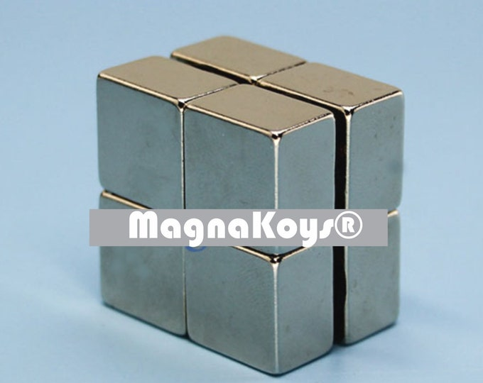 MagnaKoys® 2 pcs. 15 x 15 x 10mm Powerful Neodymium Rare Earth Bar Magnets for Crafts Geocaching, Gear