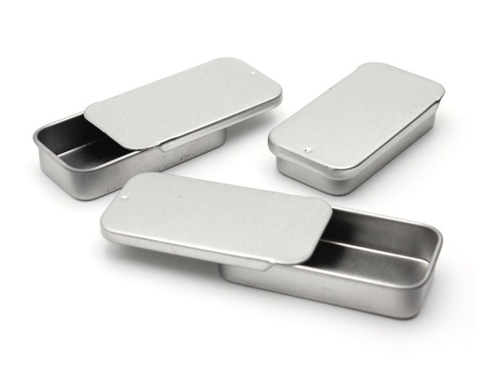 MagnaKoys® Small Metal Slide Top Tin Containers for Crafts, Geocache, Storage, Survival Kit, Lip Gloss, Favors and More