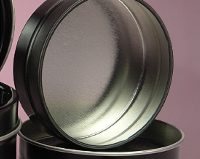 MagnaKoys Small 1/2oz Empty Black Slide Top Round Tin Containers for Lip Balm, Crafts, Cosmetic, Candles, Pocket size