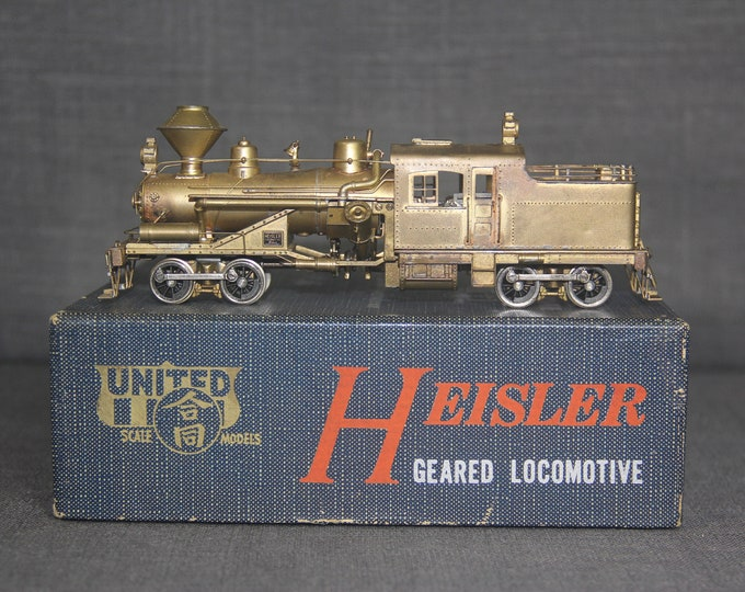 Vintage United HO scale brass Heisler Geared Logging Locomotive Japan Train Hobby
