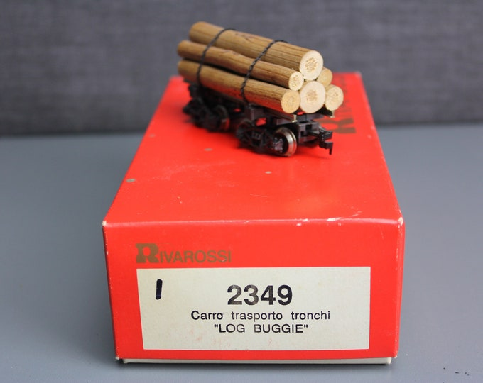 Vintage HO Scale Log Buggie Carro Trasporto Tronchi by Rivarossi ie1