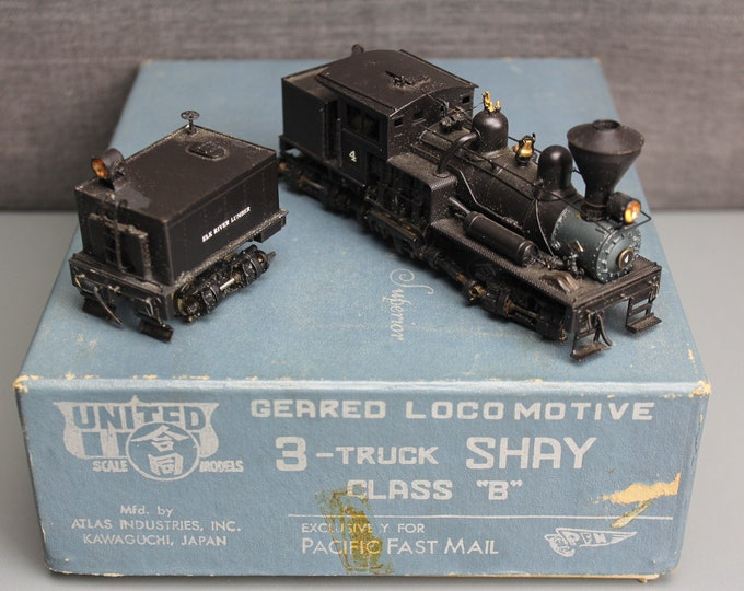 "Vintage HO Painted Brass 3-Truck Shay Class ""B"" Geared Locomotive PFM United"