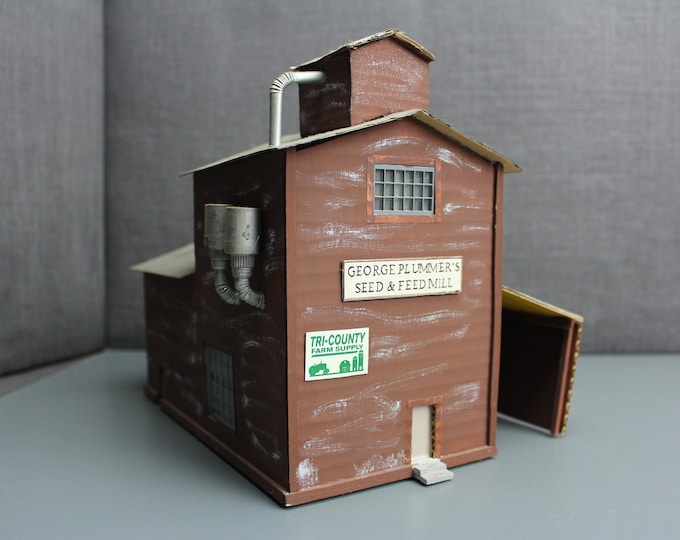 HO Scale Finished Model Seed & Feed Mill Building for your Model Train Hobby