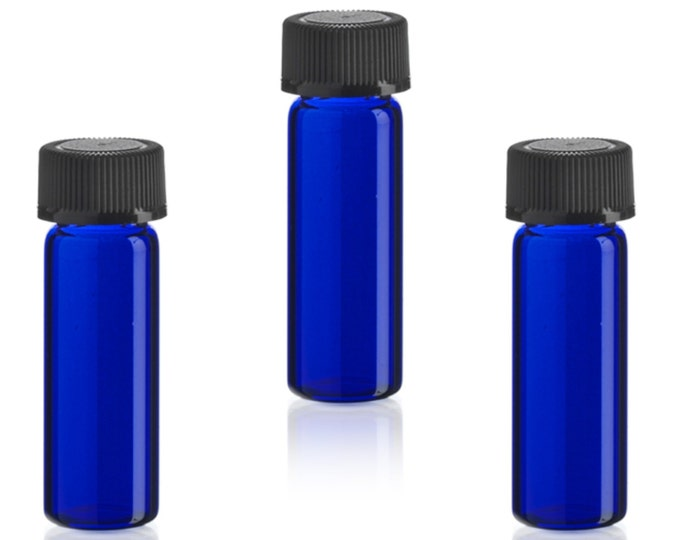 MagnaKoys® 1 Dram 1/8 oz Cobalt Blue Glass Vials w/ Black Cap for Essential Oils & Liquids