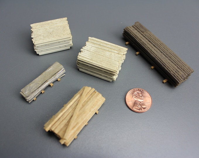 HO Scale Finished Model of Lumber on Pallets for your Model Train Hobby