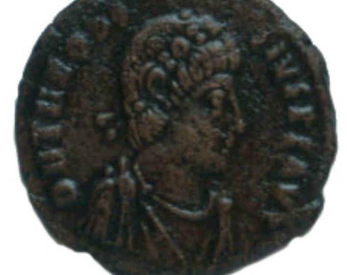Vintage Ancient Roman Coin Theodosius I w labarum, globe 379AD