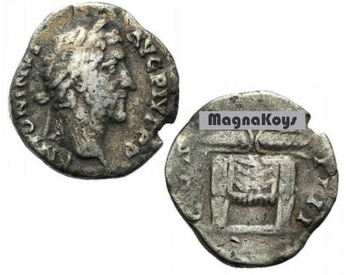 Vintage Ancient Roman Coin Antoninus Pius AR Denarius R/ Thunderbolt on altar RARE i1396