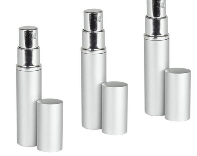Silver Aluminum Perfume Atomizer Fine Mist Sprayer 3 ML for purse or travel Refillable by MagnaKoys (3 pieces)