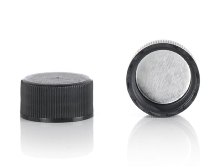 Magnakoys® Black 18-400 Foil Thread Closure Twist Screw Caps for Vials