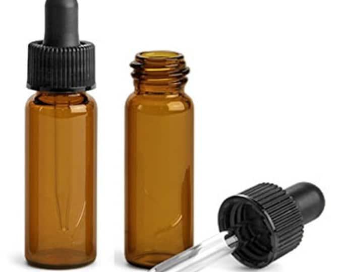 MagnaKoys 1 Dram 1/8 oz Amber Glass Vials w/ Straight Black Bulb Eye Glass Droppers for Essential Oils & Liquids