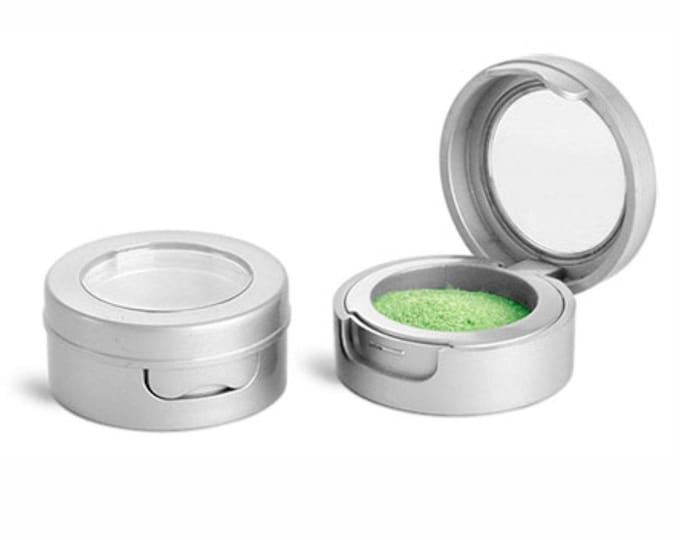 MagnaKoys® Makeup Lip Balm Eyeshadow Cosmetic Container 3 ml Silver or Black Plastic Compact Jars w/ Hinged Lids & Clear Windows