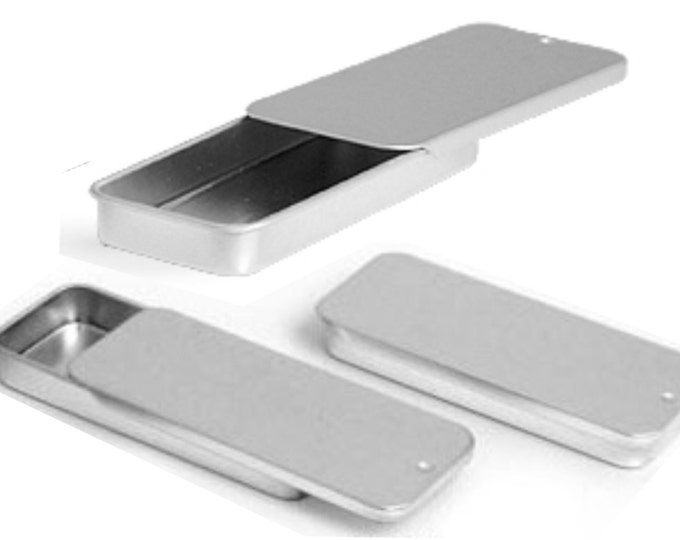 MagnaKoys® Silver Medium Metal Slide Top Tin Containers for Crafts, Geocache, Storage, Survival Kit, Lip Gloss, Favors and More