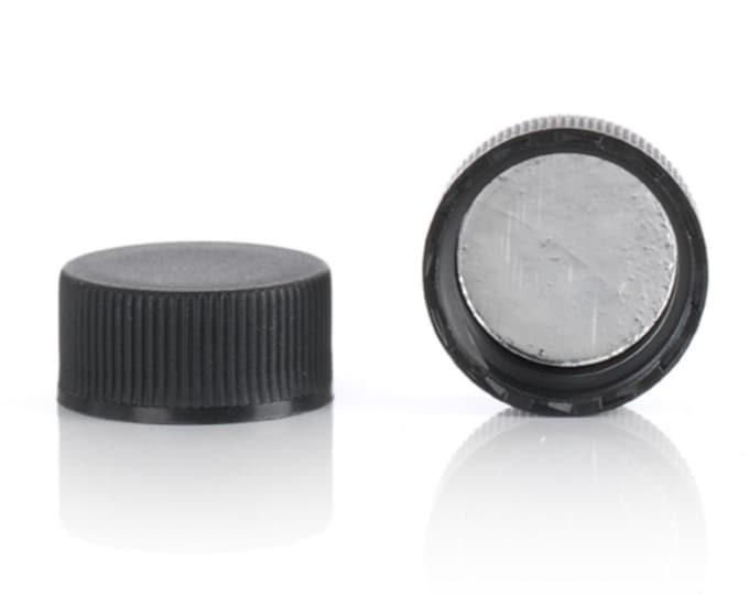 Magnakoys® Black 20-400 Foil Lined Continuous Thread Closure Twist Screw Caps for Vials