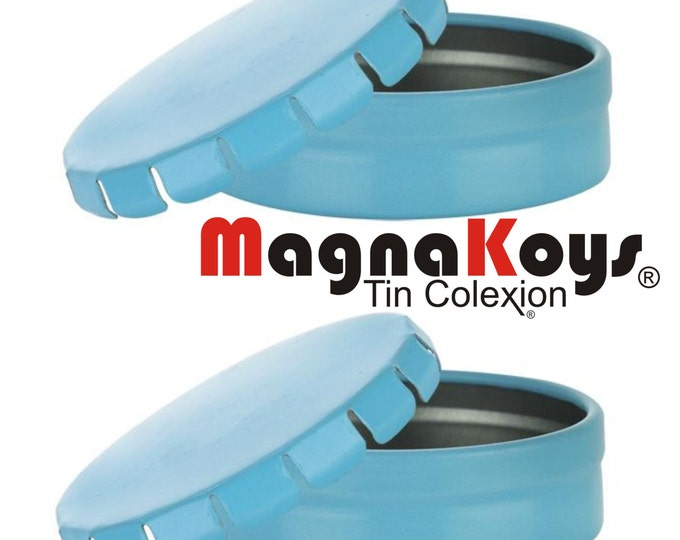 MagnaKoys® Empty 0.60 oz Round Blue Pop Top Style Metal Tin Containers for Crafts