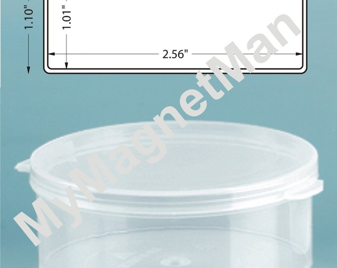 """MagnaKoys® 1.10"""" Clear 2.5oz Flat Polypro Plastic Craft Storage Vials with Attached Hinged Lid Containers 6pcs."""