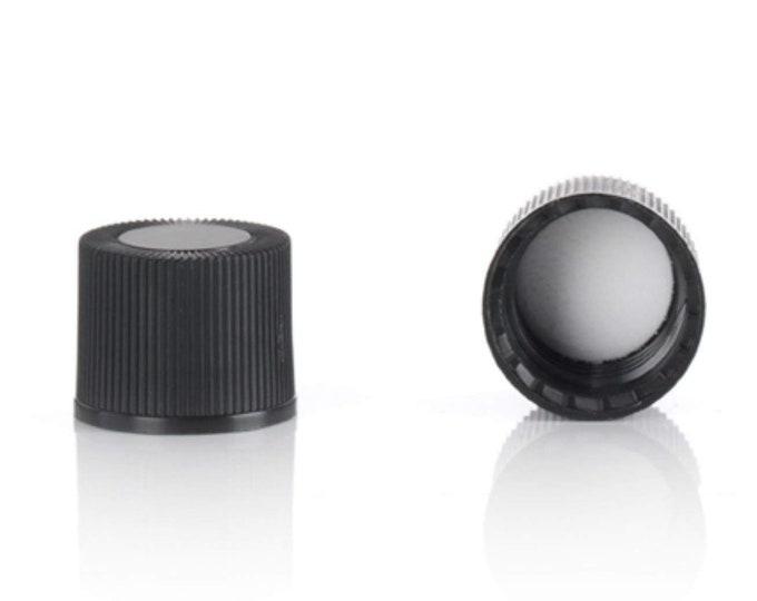 Magnakoys® Black 15-415 Continuous Thread Closure w/ 14B Rubber Liner Twist Screw Caps for Vials