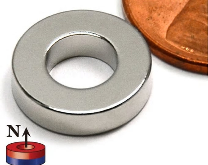 """MagnaKoys®  6 pcs. 1/2"""" x 1/4"""" x 1/8"""" Neodymium Rare Earth Ring Magnets for Crafts, Geocaching, survival Gear"""