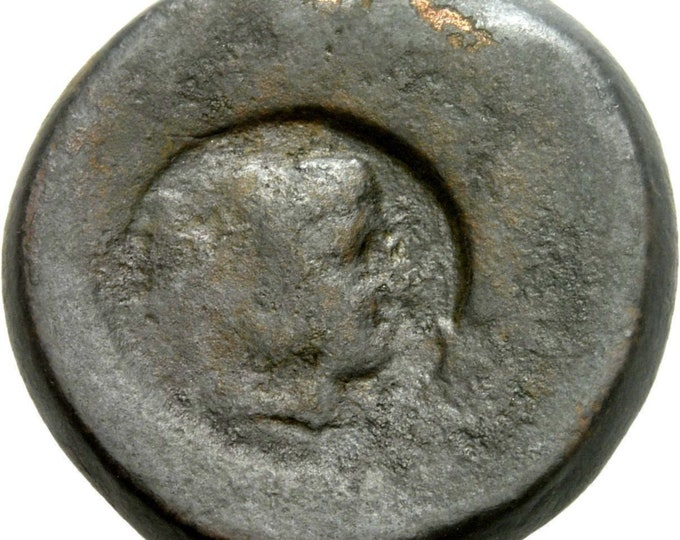 Vintage Ancient Greek Bronze Coin Sicily Akragas Hemilitron HERAKLES Counter Mark