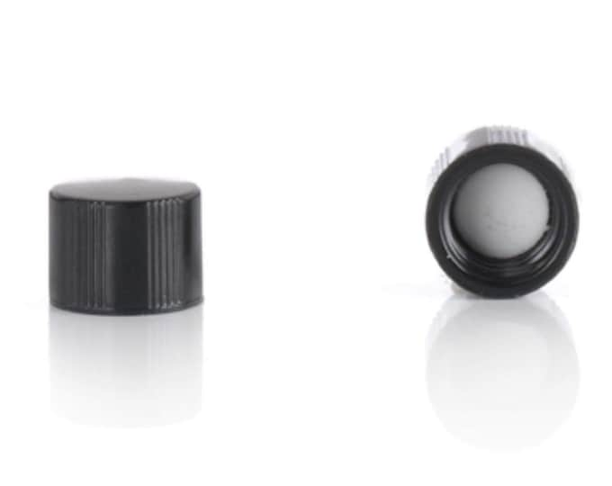 Magnakoys® Black 8-425 Teflon (PTFE) Lined Continuous Thread Closure Twist Screw Caps for Vials