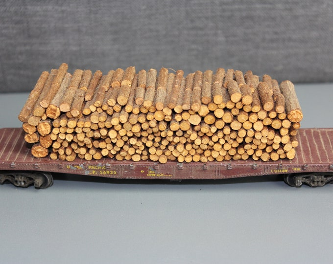 Vintage HO Scale Flat Car with Tree Logs