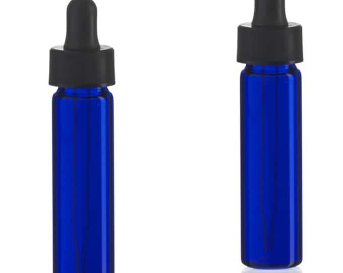 MagnaKoys® 2 Dram 1/4 oz Cobalt Blue Glass Vials w/ Straight Black Bulb Eye Glass Droppers for Essential Oils & Liquids