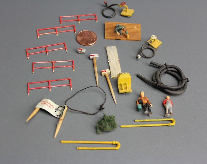 HO Scale Finished Models of different Fences, Hose, Mailbox and Figures for your Model Train Hobby