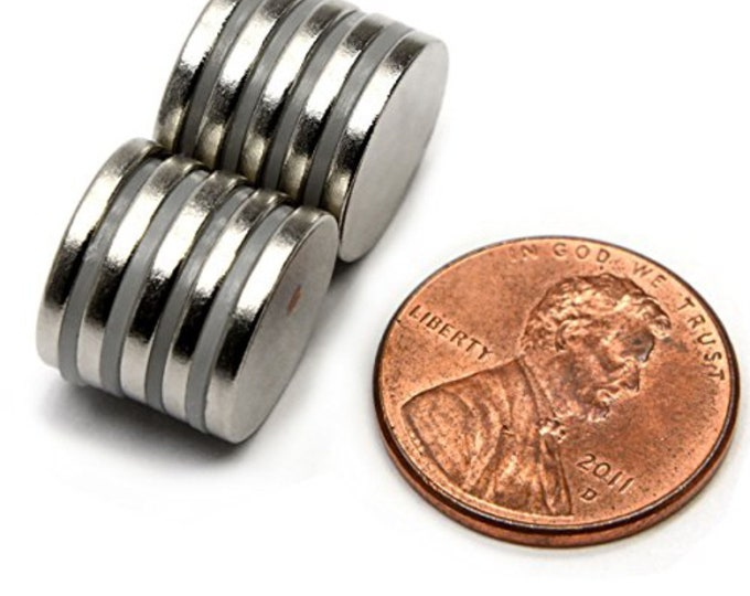 """MagnaKoys® 5 Pcs. Powerful 3/4"""" x 1/16"""" Strong Disc Round Magnets for Crafts, Hobbies, Geocaching"""
