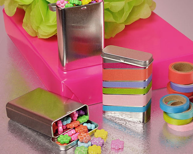 Magnakoys 3 oz. Silver Rectangular Hinged Top tins Containers for Crafts Geocache Storage Survival Kit