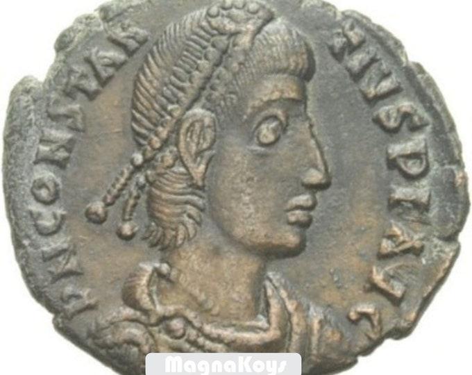 Vintage Ancient Roman Bronze Coin Constantius II AE3 Soldier spearing horseman Cyzicus i1511