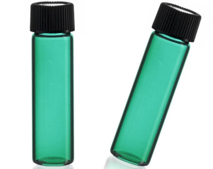 MagnaKoys® 2 Dram 1/4 oz Emerald Glass Vials w/ Cap for Essential Oils & Liquids