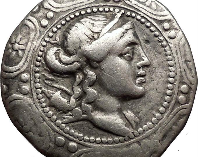 Vintage Ancient Greek AMPHIOPOLIS, MACEDONIA, 158 BC Silver Tetradrachm Artemis Tauropolos i1386