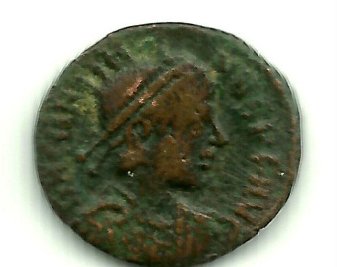 Vintage Ancient Roman Imperial Coin Emperor Gratian - Holds Globe & SCEPTER 367 AD