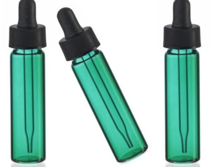 MagnaKoys® 2 Dram 1/4 oz Emerald Glass Vials w/ Straight Black Bulb Eye Glass Droppers for Essential Oils & Liquids