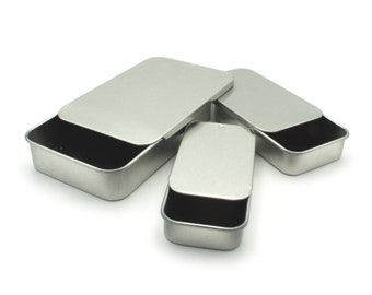 MagnaKoys® Silver rectangular Metal tins with slider tops for Crafts, Pills, Geocaching, Survival Gear