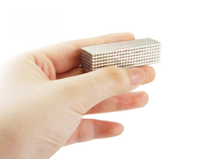 """MagnaKoys®  47 pcs. 2mm x 2mm (5/64"""" x 5/64"""") Micro Neodymium Rare Earth Cylinder Magnets for Crafts, Geocaching, dollhouses, & Miniature"""