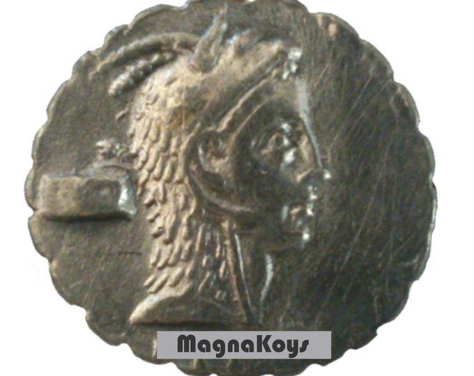 Vintage Ancient Greek Silver Coin L Roscius FABATUS. 64 BC. AR serrate denarius
