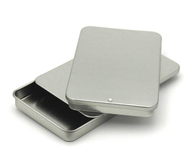 MagnaKoys 1oz Silver rectangular tins with slider tops for Crafts Pills Geocaching