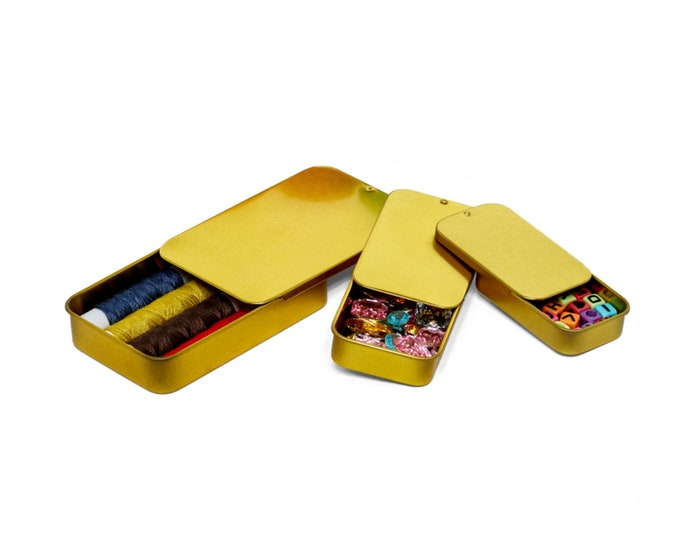 MagnaKoys® Gold Metal Slide Top Tin Containers for Crafts, Geocache, Storage, Survival Kit, Lip Gloss, Favors and More
