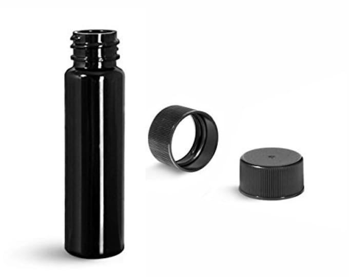 Magnakoys® 8 Dram 1 oz Slim Black Plastic Vials w/Caps (Pack of 3)