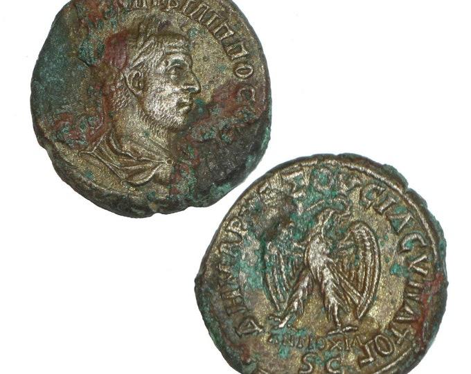 Vintage Ancient Roman Coin Emperor Philip I AE Tetradrachm Eagle Great Patina i3253