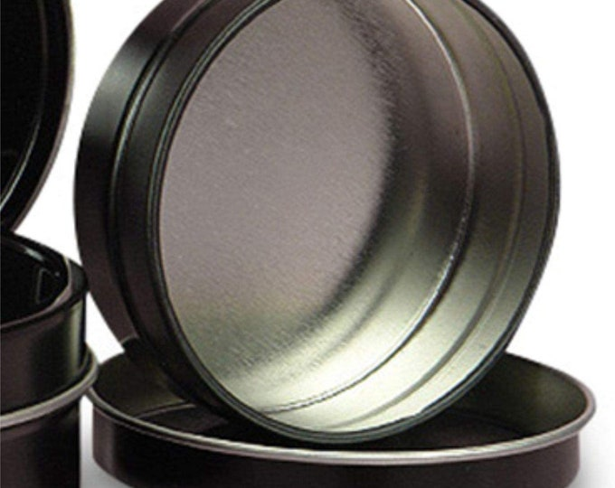 MagnaKoys Deep 1oz Empty Black Slide Top Round Tin Containers for Lip Balm, Crafts, Cosmetic, Candles (5)