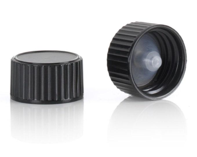 Magnakoys® Black 20-400 Polycone Continuous Thread Closure Twist Screw Caps for Vials