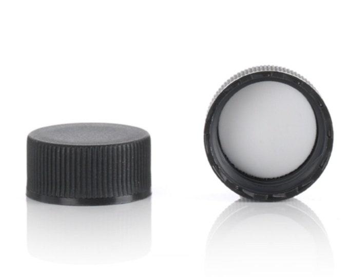 Magnakoys® Black 20-400 Continuous Thread Closure Twist Screw Caps for Vials