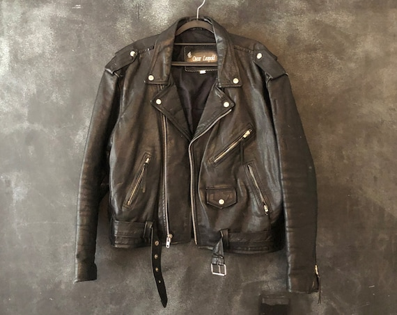 1980's 90's Black Leather Moto Motorcycle Jacket Rocker Boho Biker Mens size 44, Ladies M/L/XL